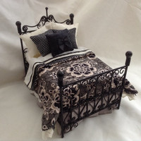 """Dolls House Luxury Dressed Black Wire Double Bed - """"Countess Violet"""" - Downton Abbey Collection Exclusive"""