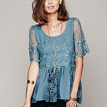Free People  FP X Viola Embroidered Top at Free People Clothing Boutique