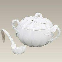 White Fall Pumpkin Tureen with Ladel