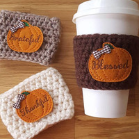 Pumpkin Spice - Pumpkin Spice Coffee Cozy - Coffee Cozy - Blessed- Pumpkin Spice Latte - Grateful - Thankful - Fall - Thanksgiving Gift