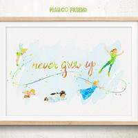 Peter Pan, Never Grow Up - Watercolor, Art Print, Home Wall decor, Watercolor Print, Disney Poster