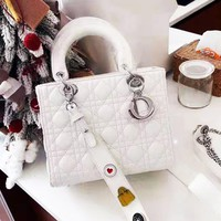DIOR casual moire lady shopping bag is a hot seller with a shoulder bag White