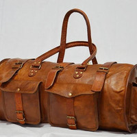 Real leather handmade travel luggage Bag vintage overnight duffel bag from india A58