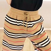 BURBERRY Summer Fashion Women Men Casual Stripe Sport Shorts