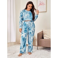 Plus Tie Dye Tee With Knot Pants PJ Set