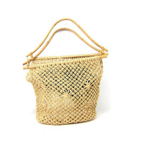 Twine Purse Natural Market Bag Straw Beach Bag with Wooden Handles Jute Twine Tote Bag Bohemian Natural Hippie Top Handle Bag