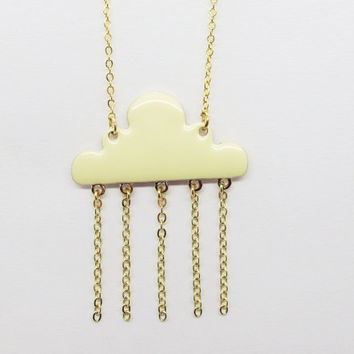 Necklace called clouds in rain / gold cloud necklace-gold plated copper chain