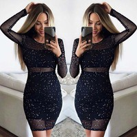 Women's Clothing 2018 Autumn Long Sleeve Perspective Dresses Black Slim Sexy Polka Dot Sequined Dress For Women Plus Size