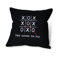 Black Cotton Think Outside the Box Pillow