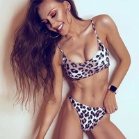 Leopard Top With High Leg Bikini Set