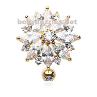Golden Radiant Flower Multi-Gem Reverse Belly Button Ring Stainless Steel Body Jewelry