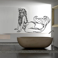 Mermaid wall decal art decor decals sticker mermaid star tail cartoon fish alga ocean sea girl silhouette nymph (m813)