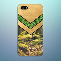 Chevron Moss Forest x Gold Nature Design Case for iPhone 6 6 Plus iPhone 5 5s 5c iPhone 4 4s Samsung Galaxy s6 s5 s4 & s3 and Note 4 3 2