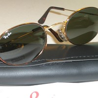 Cheap VINTAGE B&L RAY BAN G15 GOLD/TORT COATED WIRE OVAL AVIATOR SUNGLASSES w/CASE NEW outlet