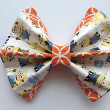 Despicable Me Duct Tape and Orange Fabric Hair Bow