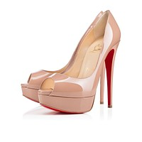 Christian Louboutin CL Lady Peep Nude Patent Leather 150mm Stiletto Heel Classic Online