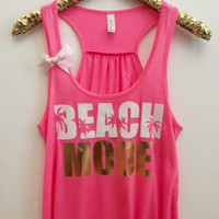 Beach Mode - Neon Pink -  Ruffles with Love - Racerback Tank - Womens Fitness - Workout Clothing - Workout Shirts with Sayings