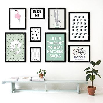 Modern Nordic Bike Flamingos English Poster Cartoon Wall Pictures Canvas Painting No Framed Kids Room Decor