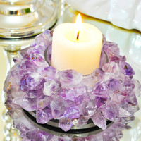 Amethyst Lotus Tea Light  Candle Holder