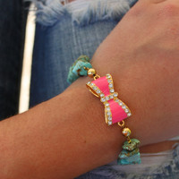 Cowgirl Couture Chunky Hot Pink and Gold Pave Bow with Turquoise Band