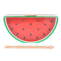 """This fruit of watermelon case bag features contrasting wedge grove design, high polished gold-tone hardware, snap closure, and detachable round link chain strap with a 24"""" drop. Pair with spring floral print dresses."""