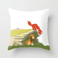 best friends forever.. a fox and a dog Throw Pillow by Studiomarshallarts