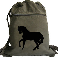 Horse Silhouette Backpack - Drawstring Book Bag
