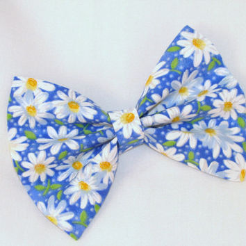 Blue with Daisy Flowers Hair Bow Vintage Inspired Hair Clip Rockabilly Pin up Teen Woman