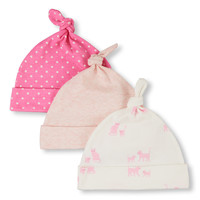 Baby Girls Kitty Family Love Print Solid And Dot Print Knotted Hat 3-Pack | The Children's Place