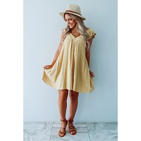 Play It Up Dress: Dusty Mustard