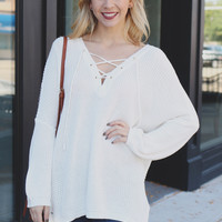 Perfect Lace Up Sweater - Ivory