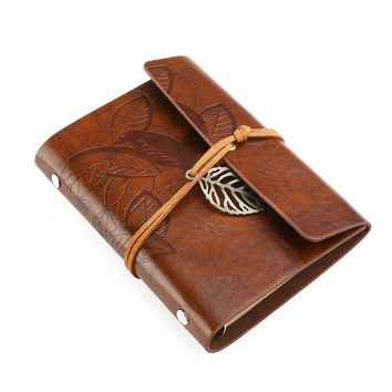 Vintage Style Leaf Pattern Cover Loose-leaf String Bound Blank Notebook Travel Journal Diary