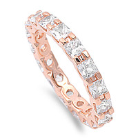 925 Sterling Silver CZ Rose Gold-Tone Plated Alternating Eternity Ring 3MM