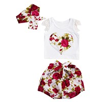Kids Summer Floral Clothing Set Baby Girls Heart Shape Flower Printed T-Shirt+Short Pant+Headband Outfits Children Clothes