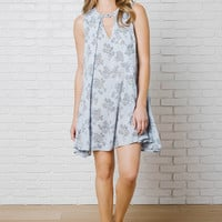 Blossom Trapeze Dress in Powder Blue-FINAL SALE