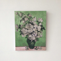 Art reproduction Cross stitch piece Vase of rose 1890 Van Gogh's painting Decorative fabric art Ready for hanging Free shipping