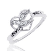 Sterling Silver Diamond Purity Dove and Heart Ring 1/15ctw - Size 5