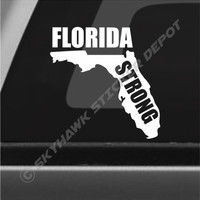 Florida Strong Miami Vinyl Decal Bumper Sticker Hurricane Irma FL State Map Car