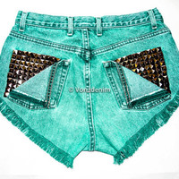 High Waisted Studded Shorts, Vintage Denim Shorts, High Rised Frayed Denim Shorts, Coachella Fashion, Green Denim Shorts, Plus Size Shorts
