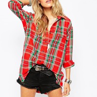 Denim & Supply By Ralph Lauren Plaid Oversized Boyfriend Shirt