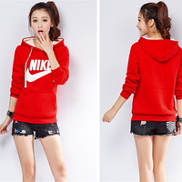 """Nike"" All-match Casual Pattern Letter Loose Thickened Hooded Cotton Sweater"