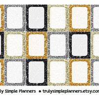 Printable Silver & Gold Glitter Frames / New Years Party / Weekly Squares For Erin Condren Life Planner * PDF Instant Download