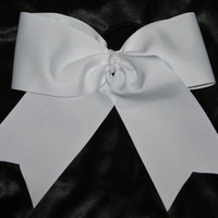 Texas size 3 inch plain white cheer bow with by SpiritCheerBows211
