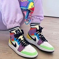 Nike Air Jordan 1 AJ1 Mid Multicolor Men's and Women's Sneakers Shoes