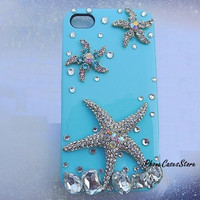 Starfish iPhone case Ocean iPhone 4s case Color Diamonds iPhone cases Crystal iPhone 4 case Blue iPhone cover Sea  Sea star