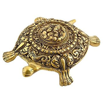 """Tortoise Carved with Lord Ganesh Design - 7.5""""x5.5""""x2"""""""
