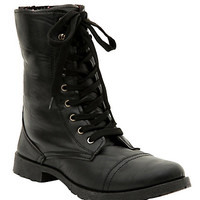 Black Floral Lined Combat Boot