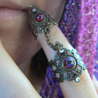 double armor ring dragon's breath ring dragons breath  nail ring  claw ring  knuckle ring  vampire goth victorian goddess pagan boho gypsy
