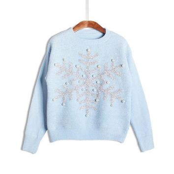Beadings Dropped Shoulder Pullover Round Neck Solid Short Sweater