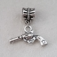 1PC Military Gun Charms Antique Silver Dangle Bead For European Pandora Charm Women's bracelets DIY Pulseras Necklaces